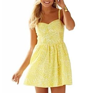 Lilly Pulitzer Christine Yellow Sundress Sea Cups